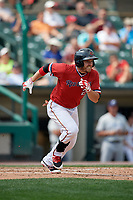 Rochester Red Wings left fielder J.B. Shuck (21) runs to first base during a game against the Columbus Clippers on August 9, 2017 at Frontier Field in Rochester, New York.  Rochester defeated Columbus 12-3.  (Mike Janes/Four Seam Images)