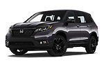 Stock pictures of low aggressive front three quarter view of 2019 Honda Passport Sport 5 Door SUV Low Aggressive