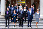 (down line, L-R) Spanish Minister of Justice Rafael Catala, Spanish Deputy Prime Minister and Minister of the Regions Soraya Saenz de Santamaria Anton, Spanish Prime Minister Mariano Rajoy, Spanish Minister of Foreign Affairs and Cooperation Alfonso Dastis Quecedo, Spanish Minister of Defence Maria Dolores de Cospedal, (middle line, L-R) Spanish Minister of Public Works Inigo de la Serna, Spanish Minister of the Treasury and Public Administrations Cristobal Montoro, Spanish Minister of the Interior Juan Ignacio Zoido, Spanish Minister of Education, Culture and Sport and Spokesman Inigo Mendez de Vigo, (top line, L-R) Spanish Minister of Economic Affairs, Industry and Competitiveness Luis de Guindos, Spanish Minister of Energy, Tourism and Digital Agenda Alvaro Nadal, Spanish Minister of Employment and Social Security Fatima Banez, Spanish Minister of Agriculture, Fishery, Alimentation and Environmental Affairs Isabel Garcia Tejerina, Spanish Minister of Health, Social Services and Equality Dolors Montserrat pose for photographers during the prensentation of Rajoy's New Government at Moncloa Palace in  Madrid, Spain. November 04, 2016. (ALTERPHOTOS/Rodrigo Jimenez)