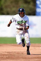 Jamestown Jammers designated hitter Michael Fransoso (3) runs the bases during a game against the Mahoning Valley Scrappers on June 15, 2014 at Russell Diethrick Park in Jamestown, New York.  Jamestown defeated Mahoning Valley 9-4.  (Mike Janes/Four Seam Images)