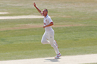 Jamie Porter of Essex celebrates taking the wicket of Ryan Patel during Essex CCC vs Surrey CCC, Bob Willis Trophy Cricket at The Cloudfm County Ground on 9th August 2020