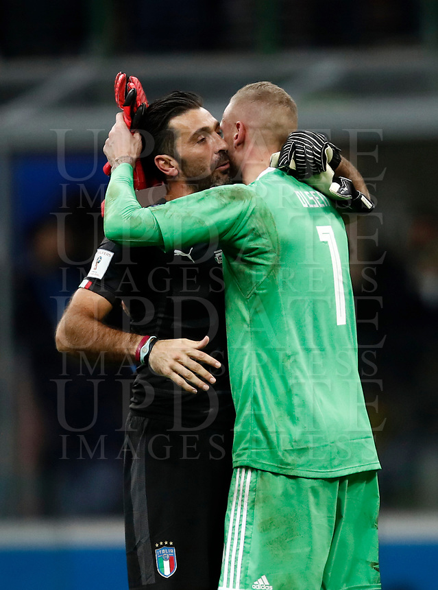 Soccer Football - 2018 World Cup Qualifications - Europe - Italy vs Sweden - San Siro, Milan, Italy - November 13, 2017 <br /> Sweden goalkeeper Robin Olsen (r) greets Italy's Captain and goalkeeper Gianluigi Buffon (l) at the end of the FIFA World Cup 2018 qualification football match between Italy and Sweden at the San Siro stadium in Milan, on November 13, 2017. <br /> Sweden reaches the Fifa World Cup 2018.<br /> Italy failed to reach the World Cup for the first time since 1958.<br /> UPDATE IMAGES PRESS/Isabella Bonotto