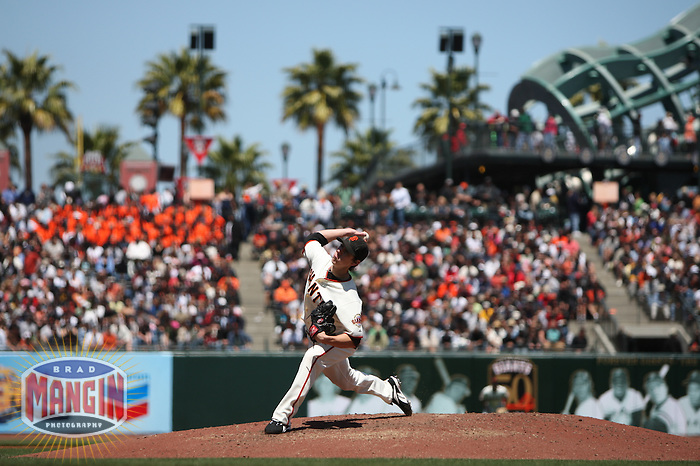 SAN FRANCISCO - JUNE 1: Tim Lincecum of the San Francisco Giants pitches during the game against the San Diego Padres at AT&T Park in San Francisco, California on June 1, 2008. Photo by Brad Mangin