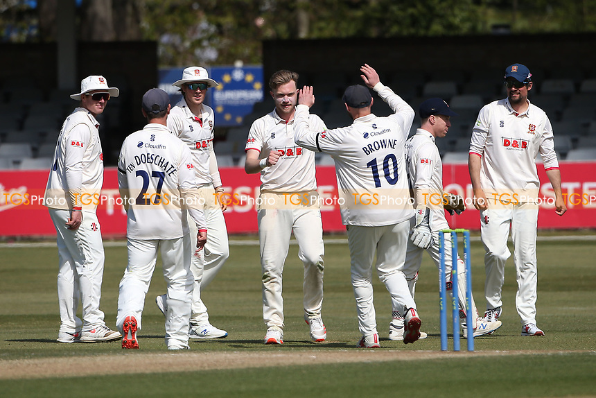 Sam Cook of Essex celebrates with his team mates after taking the wicket of Stuart Poynter during Essex CCC vs Durham CCC, LV Insurance County Championship Group 1 Cricket at The Cloudfm County Ground on 18th April 2021