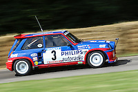 Jean Ragnotti driving a 1985 Renault 5 Maxi Turbo 1.5 litre turbocharged 4-cylinder rally car at Goodwood Festival of Speed 2016 at Goodwood, Chichester, England on 24 June 2016. Photo by David Horn / PRiME Media Images