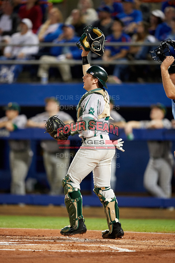 Siena Saints catcher Phil Madonna (3) watches the play during a game against the Florida Gators on February 16, 2018 at Alfred A. McKethan Stadium in Gainesville, Florida.  Florida defeated Siena 7-1.  (Mike Janes/Four Seam Images)
