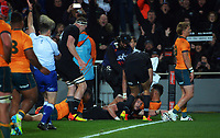 NZ's David Havili scores during the Bledisloe Cup rugby match between the New Zealand All Blacks and Australia Wallabies at Eden Park in Auckland, New Zealand on Saturday, 7 August 2021. Photo: Dave Lintott / lintottphoto.co.nz