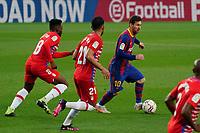 29th April 2021; Camp Nou, Barcelona, Catalonia, Spain; La Liga Football, Barcelona versus Granada; Leo Messi FC Barcelona breaks forward tracked by Eteki and Herrara of Granada