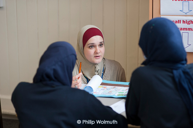 Year 8 Arabic class at Sarah Bonnell Girls' School, Stratford, London, a specialist language college..