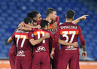 Football, Serie A: AS Roma - Fiorentina, Olympic stadium, Rome, November 1, 2020. <br /> Roma's Pedro Rodriguez (front central) celebrates after scoring with his teammates during the Italian Serie A football match between Roma and Fiorentina at Olympic stadium in Rome, on November 1, 2020. <br /> UPDATE IMAGES PRESS/Isabella Bonotto