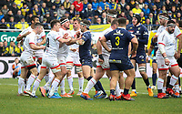 11 January 2020; Billy Burns and Rib Herring tussle with Morgan Parra during the Heineken Champions Cup Pool 3 Round 5 match between ASM Clermont Auvergne and Ulster at Stade Marcel-Michelin in Clermont-Ferrand, France. Photo by John Dickson/DICKSONDIGITAL