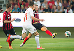 Spartak Trnava v St Johnstone...07.08.14  Europa League Qualifier 3rd Round<br /> Stevie May's shot is saved by Dobrijov Rusov<br /> Picture by Graeme Hart.<br /> Copyright Perthshire Picture Agency<br /> Tel: 01738 623350  Mobile: 07990 594431