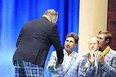 First Minister T.R. Hon Alex Salmond congratulates European Team Captain Jose Maria Olazabal (ESP) on winning the Ryder Cup at the Closing Ceremony after Sunday's Singles Matches of the 39th Ryder Cup at Medinah Country Club, Chicago, Illinois 30th September 2012 (Photo Colum Watts/www.golffile.ie)