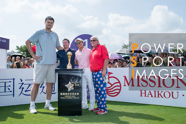 (L-R) Yao Ming, Robbie Fowler, Tenniel Chu, and John Daly at the 1st hole during the World Celebrity Pro-Am 2016 Mission Hills China Golf Tournament on 22 October 2016, in Haikou, China. Photo by Marcio Machado / Power Sport Images