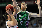 Real Madrid´s Felipe Reyes and Unicaja´s Fran Vazquez  during 2014-15 Liga Endesa match between Real Madrid and Unicaja at Palacio de los Deportes stadium in Madrid, Spain. April 30, 2015. (ALTERPHOTOS/Luis Fernandez)