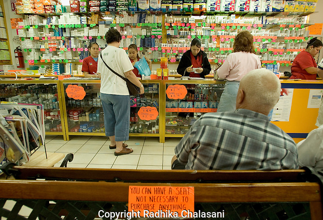 ALGODONES, MEXICO-MARCH 22: American retirees purchase medications at Guadalahara Pharmacy March 22, 2005 in Algodones. Americans visit the town to take advantage of prices that are usually one third to one half of  drug prices in the U.S. Although U.S. bans the importation of medications except in the case of life threatening illnesses U.S. customs and the Food and Drug Administration generally allow Americans to import a 3-month supply of prescription drugs.  U. S. Customs estimates that 10 million Americans bring in medications at land borders each year. ©Radhika Chalasani