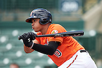 Baltimore Orioles third baseman Jomar Reyes (10) during an Instructional League game against the Tampa Bay Rays on September 19, 2016 at Ed Smith Stadium in Sarasota, Florida.  (Mike Janes/Four Seam Images)