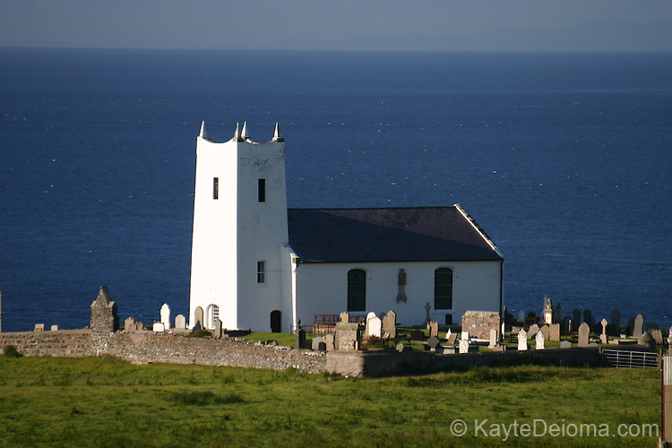 Protestant church on the harbor road outside Ballintoy, County Antrim, Northern Ireland