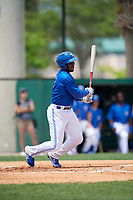 Dunedin Blue Jays Chavez Young (2) during a Florida State League game against the Clearwater Threshers on April 7, 2019 at Jack Russell Memorial Stadium in Clearwater, Florida.  Dunedin defeated Clearwater 2-1.  (Mike Janes/Four Seam Images)