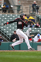 Rochester Red Wings center fielder Max Kepler (25) bats against the Scranton Wilkes-Barre Railriders on May 1, 2016 at Frontier Field in Rochester, New York. Red Wings won 1-0.  (Christopher Cecere/Four Seam Images)