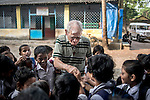 Father Laborde interact with the students at Ekpranta Nagar School. West Bengal, India, Arindam Mukherjee/Agency Genesis
