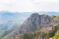 A panoramic view across the tremendously impressive Orin or Bijela Gora mountain tops close to the border to Montenegro on the road between Trebinje and Niksic. Trebinje region. Republika Srpska. Bosnia Herzegovina, Europe.