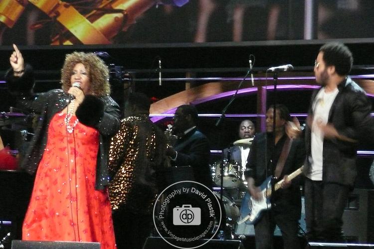 ROCK & ROLL HALL OF FAME CONCERT AT MADISON SQUARE GARDEN Aretha Franklin, Lenny Kravitz,