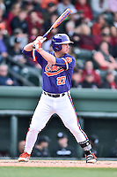 Clemson Tigers first baseman Chris Williams (27) swings at a pitch during a game against the South Carolina Gamecocks at Fluor Field on March 5, 2016 in Greenville, South Carolina. The Tigers defeated the Gamecocks 5-0. (Tony Farlow/Four Seam Images)