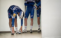 Julian ALAPHILIPPE (FRA/Deceuninck-Quick Step) stretching at the race start in Leuven<br /> <br /> 59th De Brabantse Pijl - La Flèche Brabançonne 2019 (1.HC)<br /> One day race from Leuven to Overijse (BEL/196km)<br /> <br /> ©kramon