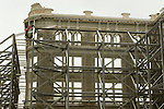 Downtown Historic Lancaster. Old department facade preservation for new Hilton hotel with temporary steel supports.