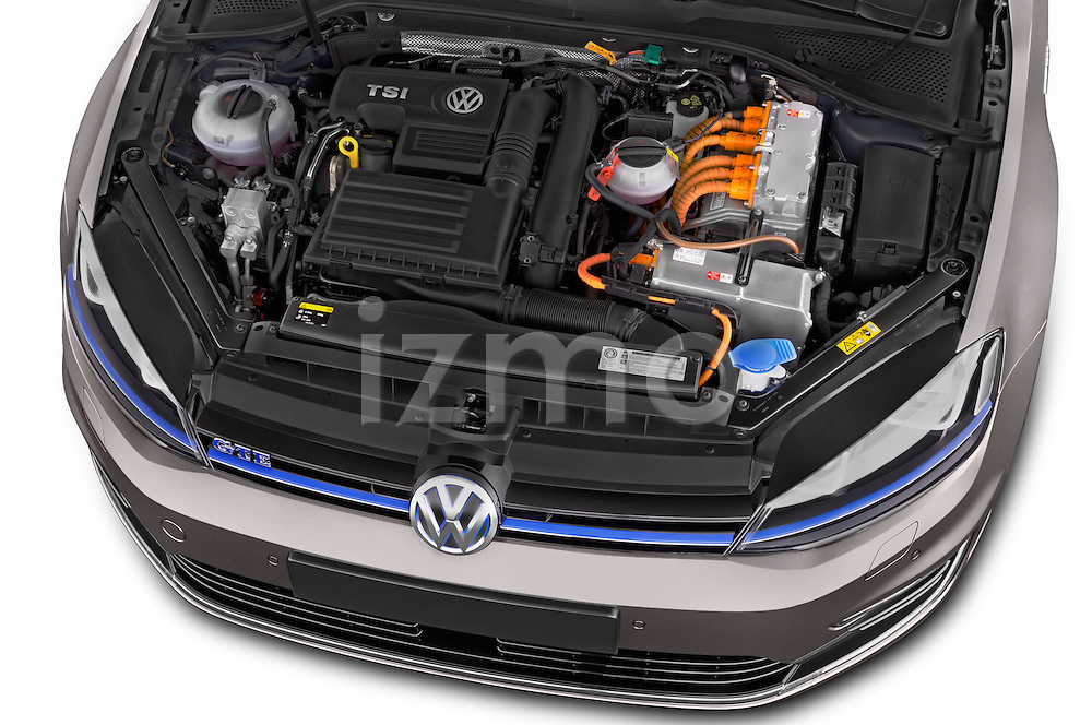 Car Stock 2015 Volkswagen Golf GTE 5 Door Hatchback 2WD Engine high angle detail view