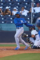Dunedin Blue Jays Orelvis Martinez (11) bats during a game against the Tampa Tarpons on May 7, 2021 at George M. Steinbrenner Field in Tampa, Florida.  (Mike Janes/Four Seam Images)