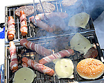 Barbecue on easter holidays, sausage and hamburgers
