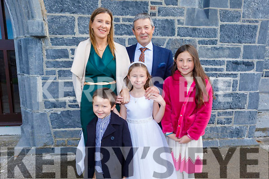 Sarah Lennon Ardfert NS student receiving her First Holy Communion in Ardfert on Saturday.<br /> L to r: Rory, Rachael, Geraldine and Brian Lennon.