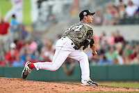 Arkansas Travelers pitcher Danny Reynolds (34) delivers a pitch during a game against the San Antonio Missions on May 25, 2014 at Dickey-Stephens Park in Little Rock, Arkansas.  Arkansas defeated San Antonio 3-1.  (Mike Janes/Four Seam Images)
