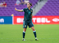 ORLANDO, FL - FEBRUARY 18: Mariana Larroquette #19 of Argentina yells to her team during a game between Argentina and Brazil at Exploria Stadium on February 18, 2021 in Orlando, Florida.