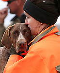 Competitor Cassandra Bliss, of Medford, Ore., talks to her dog Ella during the U.S. Bird Dogs Western State Nationals in Mound House, Nev., on Friday, April 24, 2015. <br /> Photo by Cathleen Allison