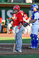 Connor Justus (16) of the Orem Owlz at bat against the Ogden Raptors in Pioneer League action at Lindquist Field on June 27, 2016 in Ogden, Utah. Orem defeated Ogden 4-3. (Stephen Smith/Four Seam Images)