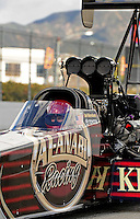 Feb. 26, 2011; Pomona, CA, USA; NHRA top fuel dragster driver Del Worsham during qualifying at the Winternationals at Auto Club Raceway at Pomona. Mandatory Credit: Mark J. Rebilas-.
