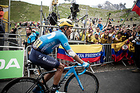 Colombian fans cheering for sNairo Quintana (COL/Movistar) at the finish<br /> <br /> hortened stage 20: Albertville to Val Thorens (59km in stead of the original 130km due to landslides/bad weather)<br /> 106th Tour de France 2019 (2.UWT)<br /> <br /> ©kramon