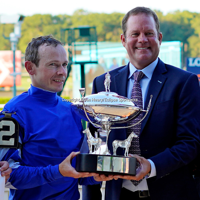 September 18, 2021: Yibir (GB) #2, ridden by jockey Jamie Spencer wins the Jockey Club Derby Invitational Stakes on the turf at Belmont Park in Elmont, N.Y. on September 18th, 2021. Dan Heary/Eclipse Sportswire/CSM