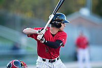Zach Remillard (8) of the Kannapolis Intimidators at bat against the Lakewood BlueClaws at Kannapolis Intimidators Stadium on April 8, 2017 in Kannapolis, North Carolina.  The BlueClaws defeated the Intimidators 8-4 in 10 innings.  (Brian Westerholt/Four Seam Images)