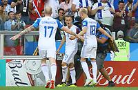 celebrate the goal, Torjubel zum 1:1 Ausgleich von Alfred Finnbogason (Island, Iceland) mit Aron Gunnarsson (Island, Iceland), Hordur Magnusson (Island, Iceland)- 16.06.2018: Argentinien vs. Island, Spartak Stadium Moskau