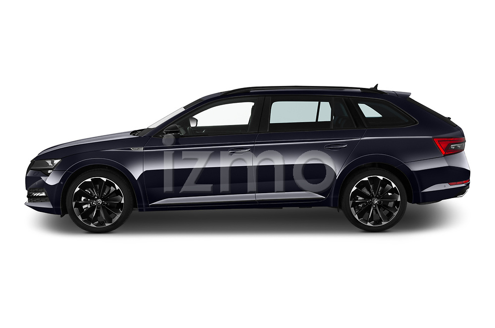 Car Driver side profile view of a 2020 Skoda Superb-Combi Sportline 5 Door Wagon Side View