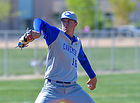 Carlsbad Cavemen Trevor Rogers (16) delivers a pitch during a game against the Volcano Vista Hawks at Volano Vista High School on April 15, 2017 in Albuquerque, New Mexico.  (Lou Novick/Four Seam Images)