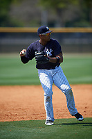 New York Yankees Dermis Garcia (60) throws during a minor league Spring Training game against the Detroit Tigers on March 22, 2017 at the Yankees Complex in Tampa, Florida.  (Mike Janes/Four Seam Images)