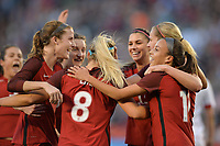 San Diego, CA - Sunday January 21, 2018: Julie Ertz, Mallory Pugh prior to an international friendly between the women's national teams of the United States (USA) and Denmark (DEN) at SDCCU Stadium.