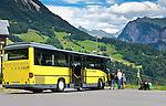 Austria, Vorarlberg, Fontanella: mountain village at Great Walser Valley, bus stop | Oesterreich, Vorarlberg, Fontanella: Gebirgsdorf im Biosphaerenpark Grosses Walsertal, Landbus Haltestelle