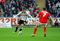 ATTENTION SPORTS PICTURE DESK<br /> Pictured: Angel Rangel of Swansea City in action <br /> Re: Coca Cola Championship, Swansea City Football Club v Nottingham Forest at the Liberty Stadium, Swansea, south Wales. Saturday 12 December 2009