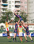 Taikoo Place Scottish Exiles (in dark blue) defeat GFI East Africans (in yellow) 31 to 0 during GFI HKFC Rugby Tens 2016 on 06 April 2016 at Hong Kong Football Club in Hong Kong, China. Photo by Juan Manuel Serrano / Power Sport Images
